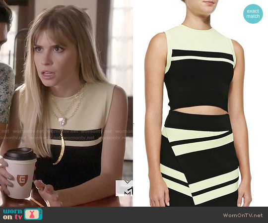 ALC Corey Stripe Knit Crop Top worn by Carlson Young on Scream