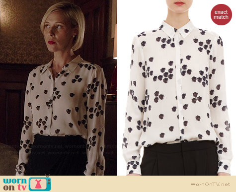 ALC Falling Iris-Print Song Blouse worn by Liza Weil on HTGAWM