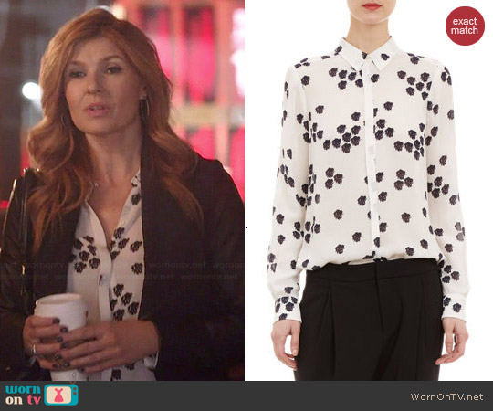 ALC Falling Iris Print Song Blouse worn by Connie Britton on Nashville