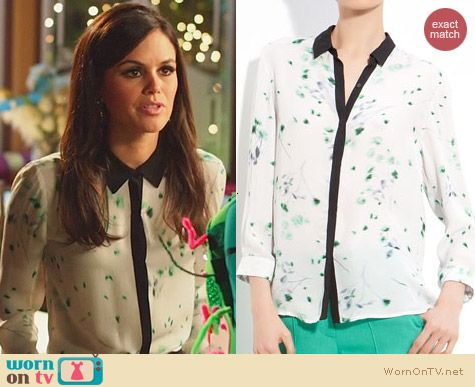 A.L.C. Gillian Print Silk Blouse worn by Rachel Bilson on Hart of Dixie