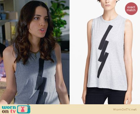 ALC Graphic Muscle Tee worn by Natalie Morales on Trophy Wife