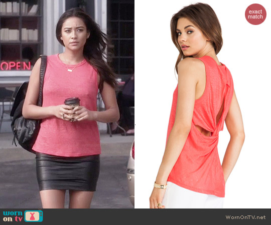 ALC Harper Twist Back Tank in Persimmon worn by Shay Mitchell on PLL