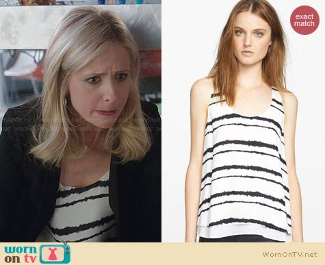 ALC Hepburn Silk Stripe Tank worn by Sarah Michelle Gellar on The Crazy Ones