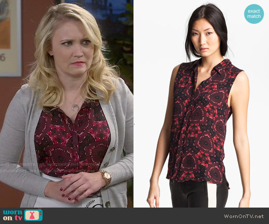 ALC Mackay Print Top worn by Emily Osment on Young & Hungry