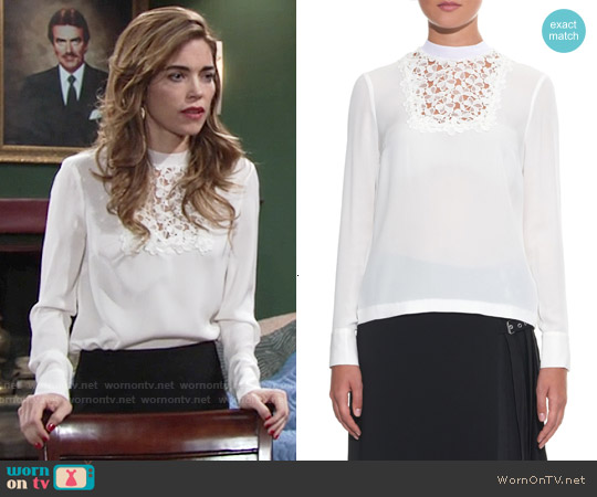 ALC Macrame Lace Bib Silk Top worn by Amelia Heinle on The Young & the Restless