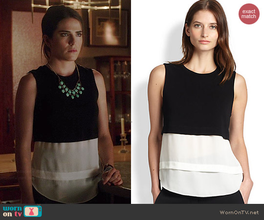 A.L.C. Palmer Knit & Silk Layered Top worn by Karla Souza on HTGAWM