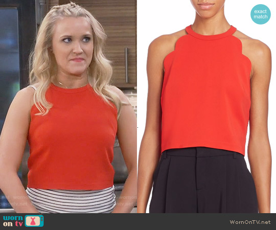 ALC Sanger Top in Tomato worn by Emily Osment on Young & Hungry