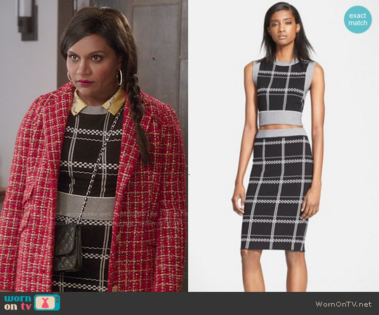 ALC Scott Top and Ruley Skirt worn by Mindy Kaling on The Mindy Project