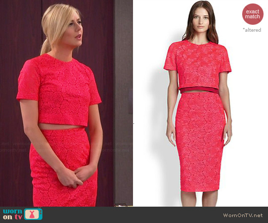 ALC Thompson Crop Top & Towner Lace Skirt worn by Justine Lupe on Cristela