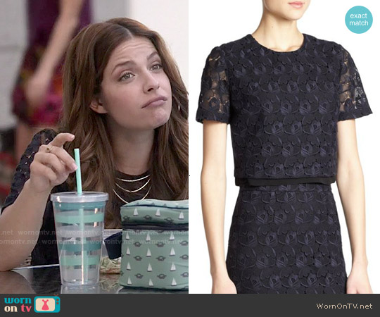 ALC Thompson Lace Cropped Top worn by Paige Spara on Kevin from Work