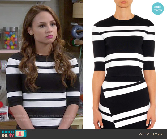 ALC Townsend Striped Knit Top worn by Aimee Carrero on Young & Hungry