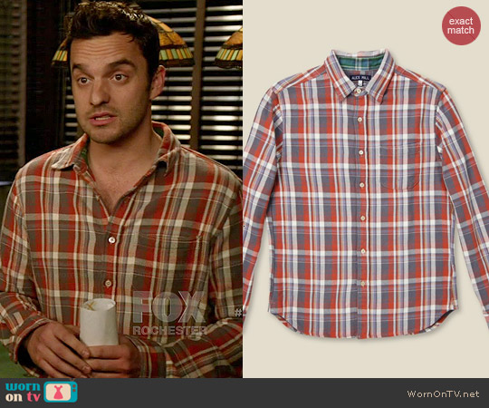 Alex Mill Sport Shirt in Brick worn by Jake Johnson on New Girl