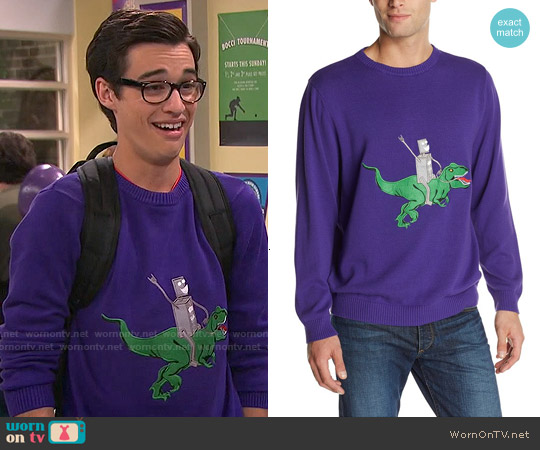 Alex Stevens Robot Dinosaur Rodeo Sweater worn by Joey Bragg on Liv & Maddie