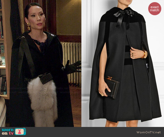 Alexander McQueen Hooded Velvet-Trimmed Wool Cape worn by Lucy Liu on Elementary