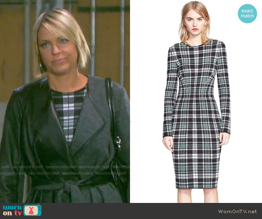 Alexander Mcqueen Long Sleeve Plaid Sheath Dress worn by Arianne Zucker on Days of our Lives