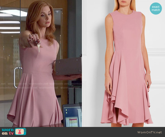Alexander McQueen Ruffled Silk-Crepe Dress worn by Sarah Rafferty on Suits