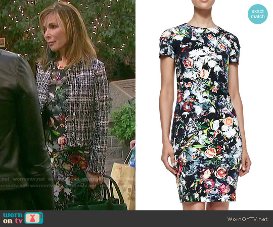 Alexander Mcqueen Short Sleeve Floral Festive Dress worn by Lauren Koslow on Days of our Lives