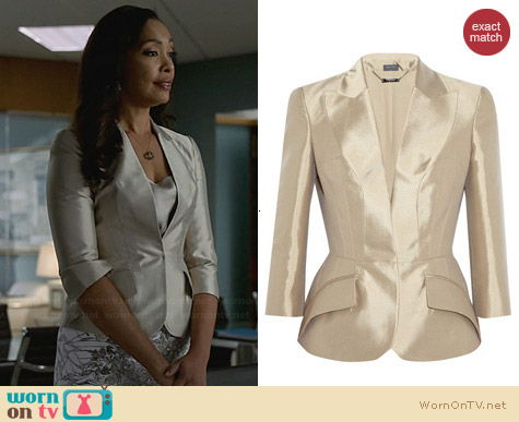 Alexander McQueen Tailored Silk Mikado Jacket worn by Gina Torres on Suits