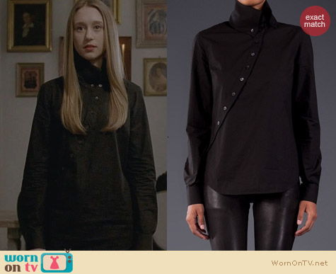 Alexander McQueen Asymmetrical Button Down Shirt worn by Taissa Farmiga on AHS Coven