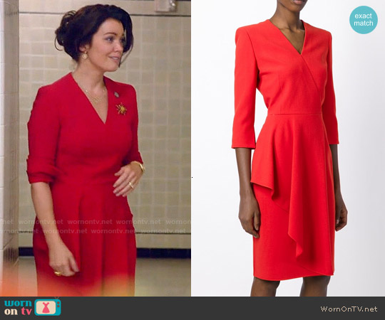 Alexander McQueen Asymmetric Drape Dress worn by Bellamy Young on Scandal