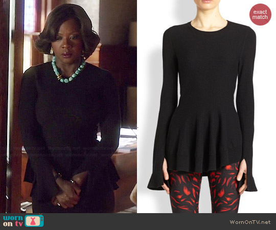Alexander McQueen Asymmetric Peplum Wool-Cashmere Sweater worn by Viola Davis on HTGAWM