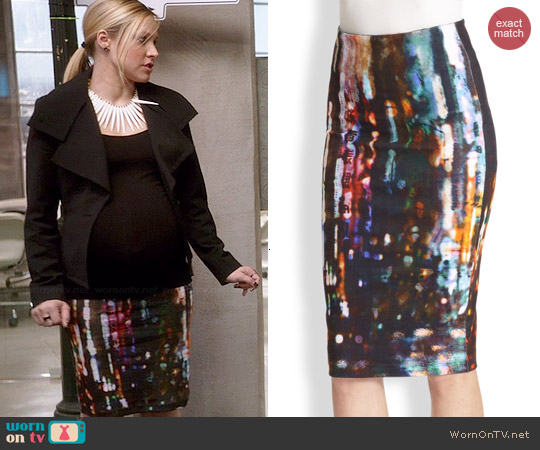 Alexander McQueen Blurry Lights Print Stretch Skirt worn by Kristen Bell on House Of Lies