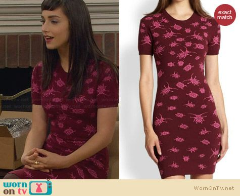 Alexander McQueen Bug Jacquard Dress worn by Molly Ephraim on Last Man Standing