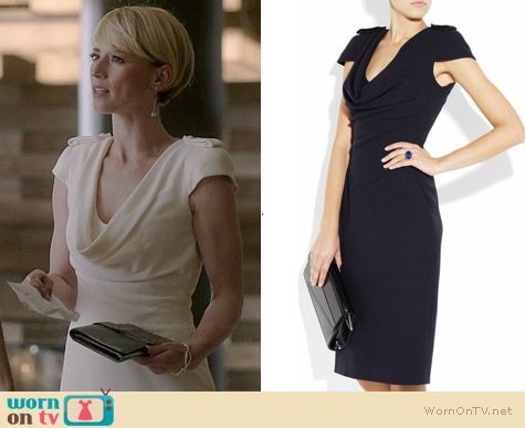 Alexander McQueen Cap Sleeve Cowl Neck Military Dress worn by Karine Vanasse on Revenge