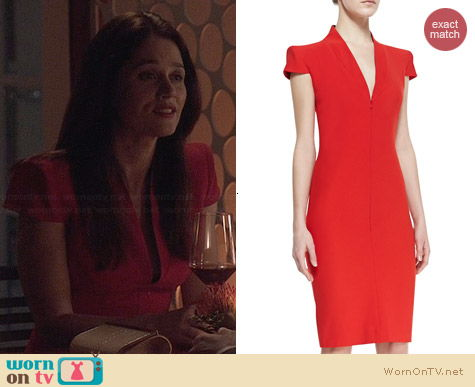 Alexander McQueen Red Cap-Sleeve Deep V-Neck Dress worn by Robin Tunney on The Mentalist