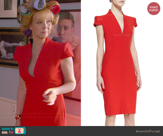 Alexander McQueen Cap Sleeve Deep V-neck Dress worn by Lisa Kudrow on The Comeback