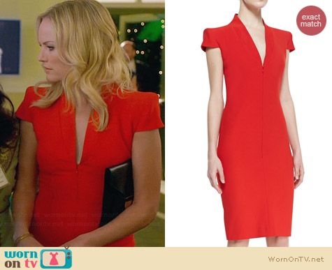 Alexander McQueen Cap Sleeve Deep V-neck Dress worn by Malin Akerman on Trophy Wife