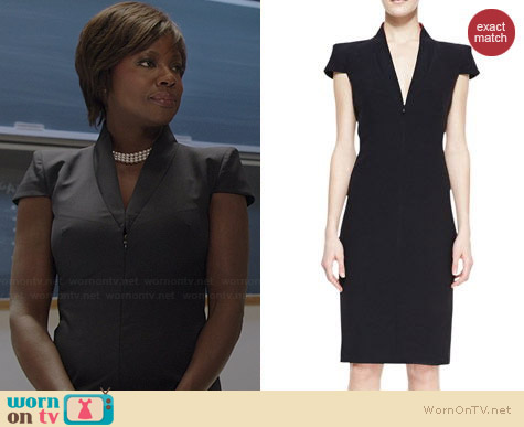 Alexander McQueen Cap Sleeve Deep V-Neck Dress worn by Viola Davis on HTGAWM