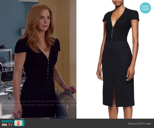 Alexander McQueen Cap-Sleeve Deep-V-Neck Dress worn by Sarah Rafferty on Suits
