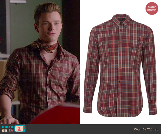 Alexander McQueen Check Cotton Shirt worn by Chris Colfer on Glee