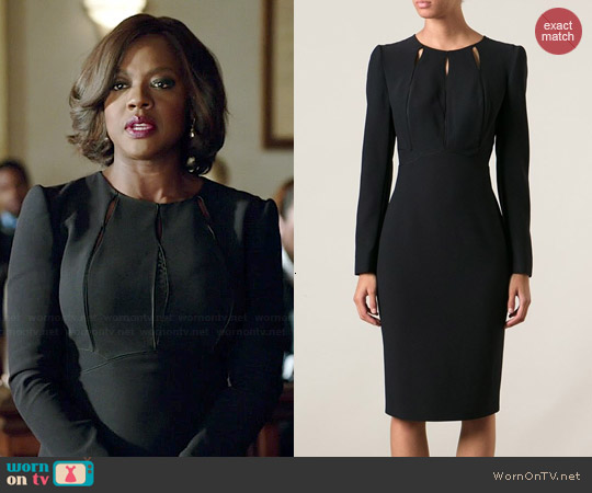 Alexander McQueen Cutout Detail Dress worn by Viola Davis on HTGAWM