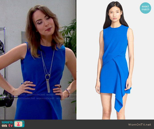 McQ by Alexander McQueen Blue Draped Dress worn by Ashleigh Brewer on The Bold & the Beautiful