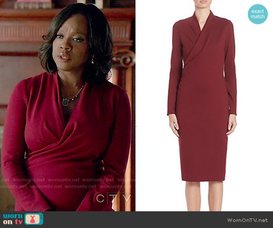 Alexander Mcqueen Fitted Wrap Front Dress worn by Viola Davis on HTGAWM