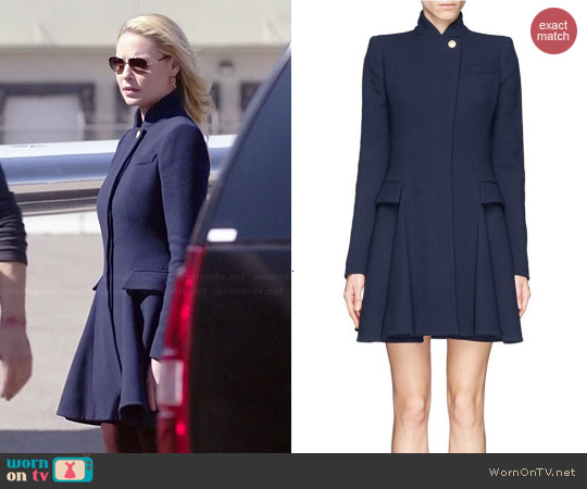 Alexander McQueen Wool Crepe Flare Coat worn by Katherine Heigl on State of Affairs