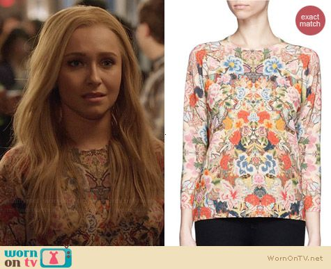 Alexander McQueen Floral Embroidery Print Sweater worn by Hayden Panettiere on Nashville