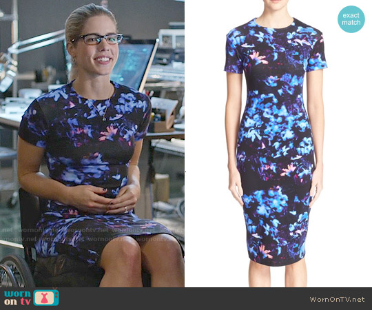 Alexander McQueen Floral Print Bodycon Dress worn by Emily Bett Rickards on Arrow