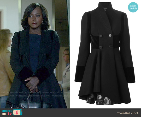 Alexander McQueen Double Breasted Folded Drape Coat worn by Viola Davis on HTGAWM