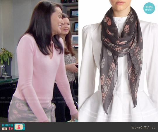 Alexander McQueen Skull Silk Shawl worn by Quinn Fuller on The Bold & the Beautiful