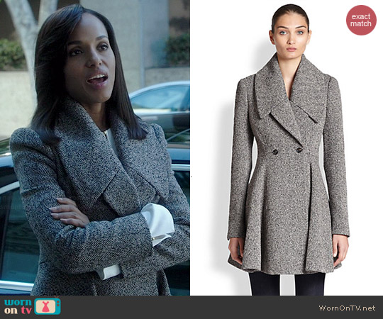 Alexander McQueen Herringbone-Boucle Cossack Coat worn by Kerry Washington on Scandal