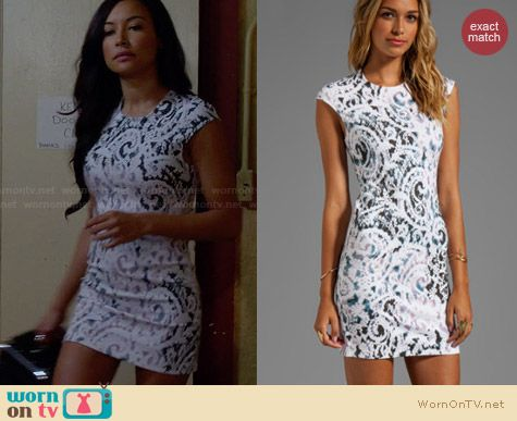 Alexander McQueen Lace Paint Dress worn by Naya Rivera on Glee
