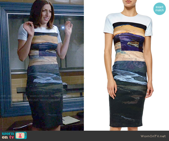 McQ Alexander McQueen Landscape Print Bodycon Dress worn by Chelsea Peretti on Brooklyn Nine-Nine