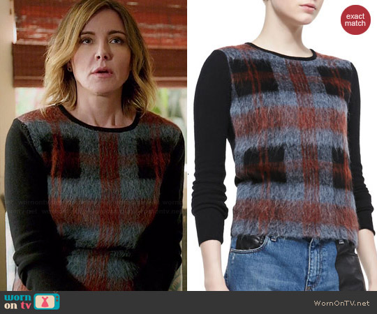 Alexander McQueen Mohair Plaid-Front Crewneck Sweater worn by Christa Miller on Cougar Town