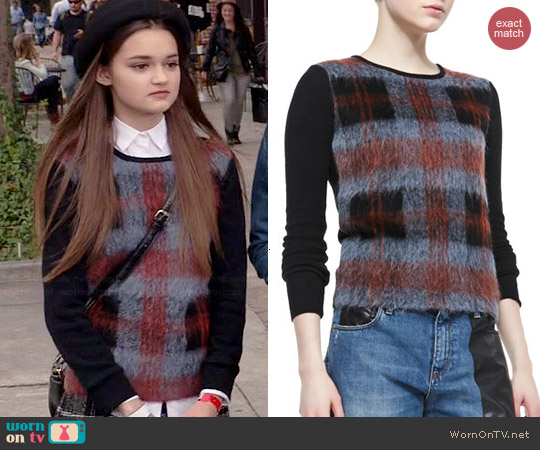 Alexander McQueen Mohair Plaid Front Sweater worn by Ciara Bravo on Red Band Society