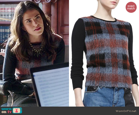 Alexander McQueen Mohair Plaid Front Sweater worn by Karla Souza on HTGAWM