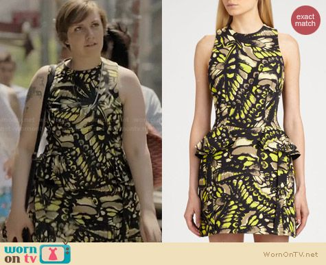 Alexander McQueen Peplum Racer Back Print Dress worn by Lena Dunham