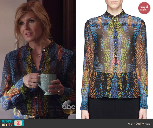 Alexander McQueen Rainbow Crocodile Print Blouse worn by Connie Britton on Nashville